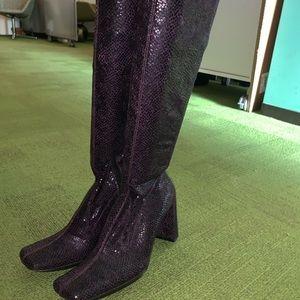 Purple snakeskin boots NWOT
